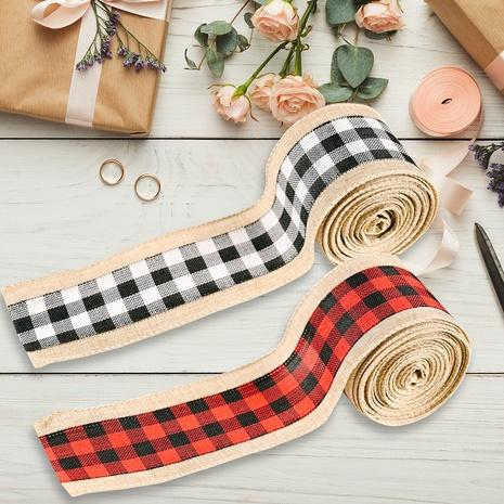 vente en gros bordure en lin à carreaux ruban de décoration de Noël Nihaojewelry NHHB394507's discount tags