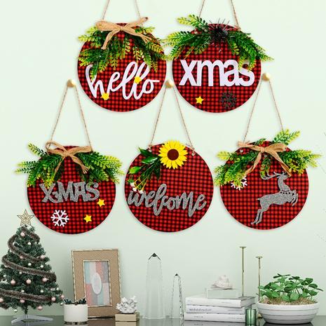 Commerce de gros nouveau tissu à carreaux plaque de porte en bois décoration de Noël Nihaojewelry NHHB394509's discount tags