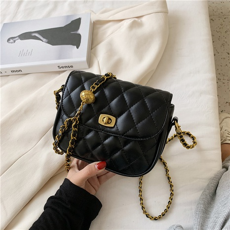 Korean solid color diamond chain messenger lock bag wholesale nihaojewelry NHGN394842's discount tags