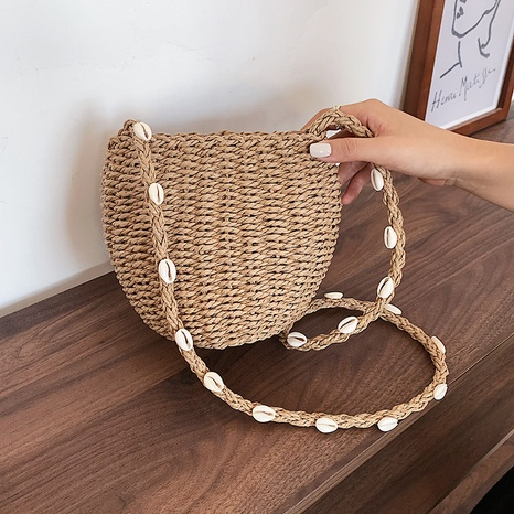 new one-shoulder messenger shell straw bag wholesale Nihaojewelry  NHGN394857's discount tags