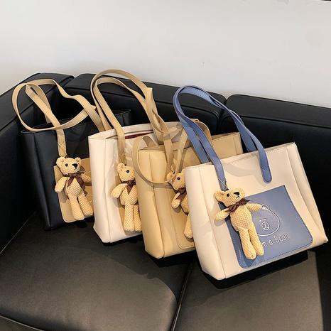Großhandel Mode Bär Puppe große Kapazität Kontrastfarbe Einkaufstasche Nihaojewelry NHGN394872's discount tags