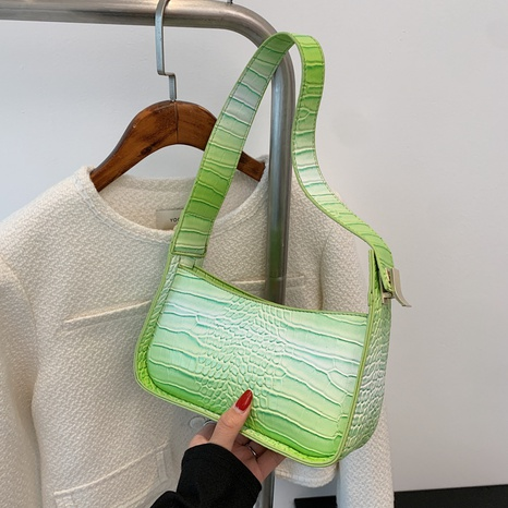 wholesale solid color crocodile pattern shoulder underarm bag nihaojewelry  NHGN394993's discount tags