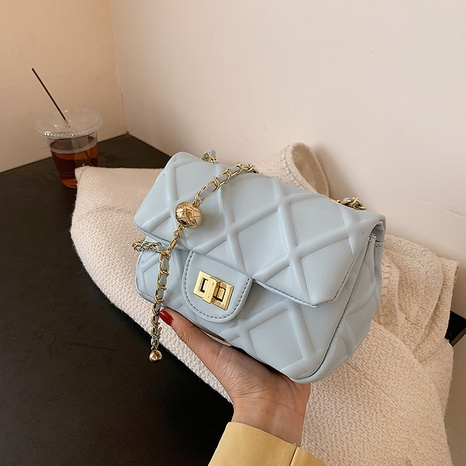 wholesale solid color rhombus messenger chain small square bag nihaojewelry  NHGN395008's discount tags