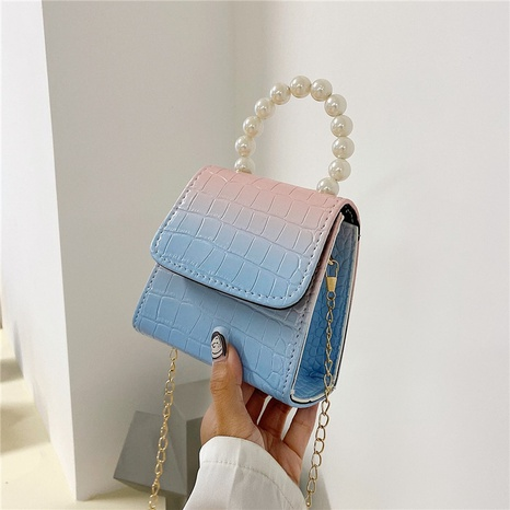 Mode Farbverlauf Perlenkette Messenger One-Shoulder kleine quadratische Tasche Großhandel nihaojewelry NHRU395044's discount tags