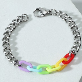 wholesale stainless steel acrylic six-color rainbow bracelet Nihaojewelry NHACH395158