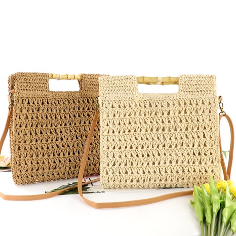 bamboo handle paper rope notch diagonal straw woven bag wholesale Nihaojewelry NHXM394713's discount tags