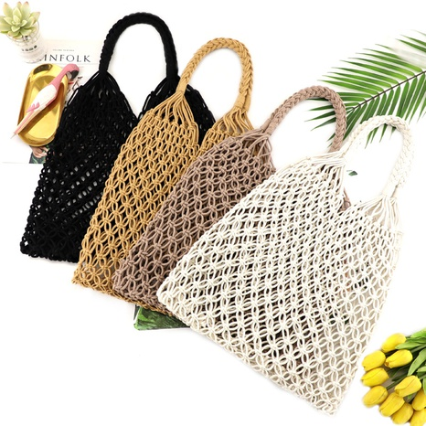 cotton thread hand-tie mesh hollow unlined straw bag wholesale Nihaojewelry NHXM394701's discount tags