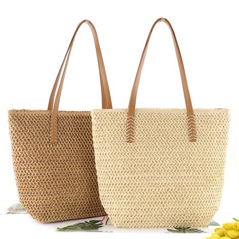 woven one-color straw beach bag wholesale Nihaojewelry NHXM394704's discount tags