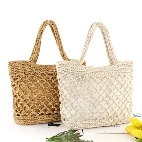 cotton rope chain buckle hand-tie woven straw beach bag wholesale Nihaojewelry NHXM394702's discount tags