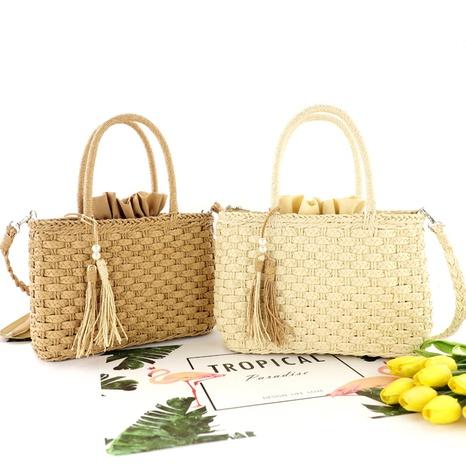 pearl tassel straw woven paper rope three-strand braid bag wholesale Nihaojewelry NHXM394703's discount tags