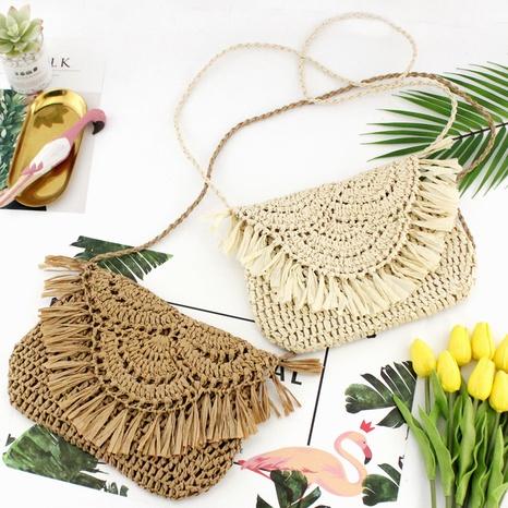 tassel straw woven paper rope hook flower flap woven bag wholesale Nihaojewelry NHXM394714's discount tags