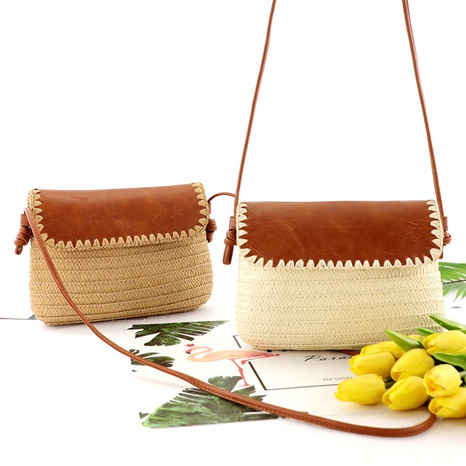 leather cover paper argument one-shoulder woven bag wholesale Nihaojewelry NHXM394715's discount tags