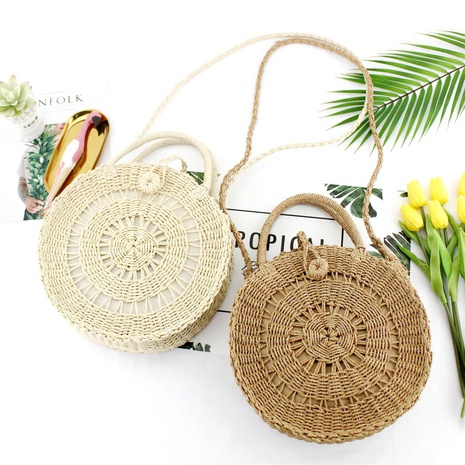 round hollow dual-purpose straw woven bag wholesale Nihaojewelry NHXM394716's discount tags