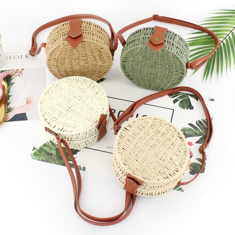 retro round hundred candy color messenger straw woven bag wholesale Nihaojewelry NHXM394717's discount tags