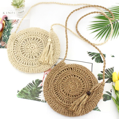 crochet flower straw woven paper rope diagonal bag wholesale Nihaojewelry NHXM394719's discount tags