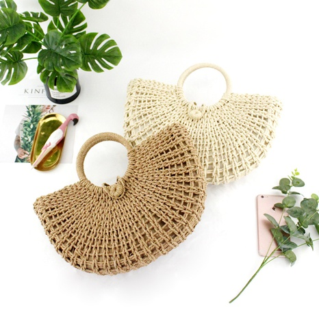 straw woven round bucket hollow woven bag wholesale Nihaojewelry NHXM394720's discount tags