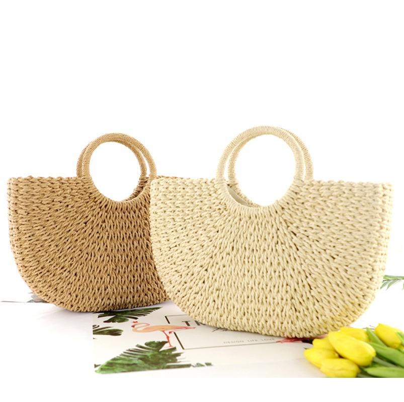 paper rope woven beach straw bag wholesale Nihaojewelry NHXM394721