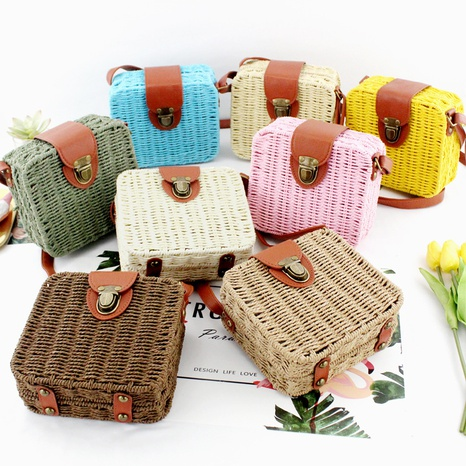 candy color straw woven square messenger bag wholesale Nihaojewelry NHXM394723's discount tags