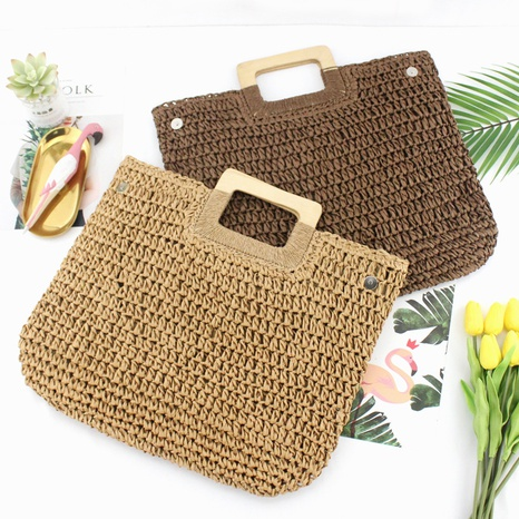 straw woven wooden rope hollow handbag wholesale Nihaojewelry NHXM394724's discount tags