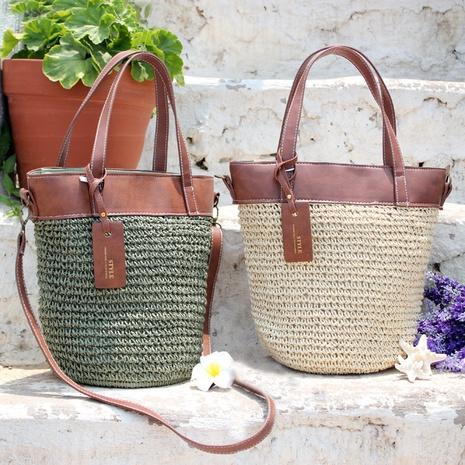 fashion paper rope straw woven splicing handbag wholesale Nihaojewelry NHXM394726's discount tags