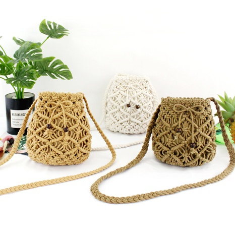 hand-tie woven cotton rope straw woven diagonal mini bag wholesale Nihaojewelry NHXM394727's discount tags