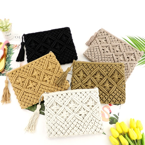cotton tassel hand-tie clutch straw woven bag wholesale Nihaojewelry NHXM394728's discount tags