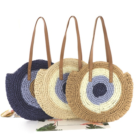 paper rope crochet color big disc straw woven bag wholesale Nihaojewelry NHXM394730's discount tags