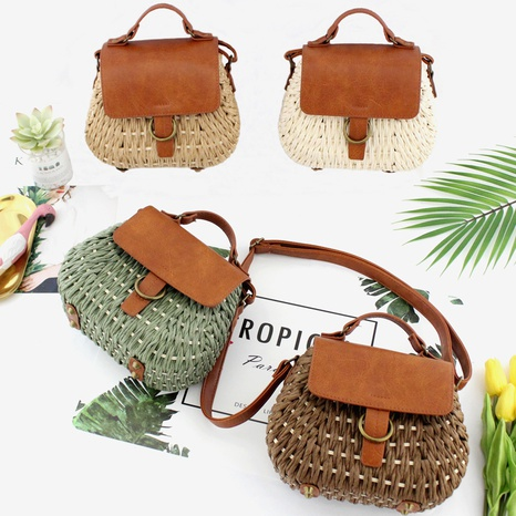 retro clashing color straw woven crossbody beach bag wholesale Nihaojewelry NHXM394731's discount tags