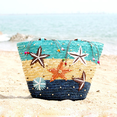 hand-knitted embroidery three-color gypsophila wooden beads shoulder straw bag wholesale Nihaojewelry NHXM394729's discount tags