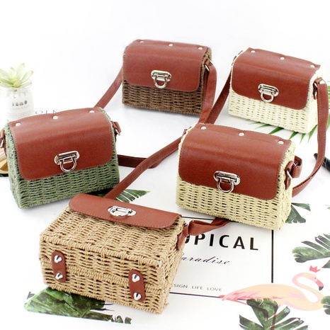 candy color paper rope straw woven messenger bag wholesale Nihaojewelry NHXM394733's discount tags