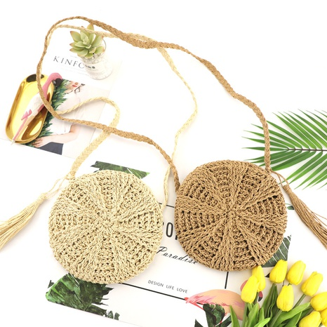 paper rope tassel straw woven round bag wholesale Nihaojewelry NHXM394734's discount tags