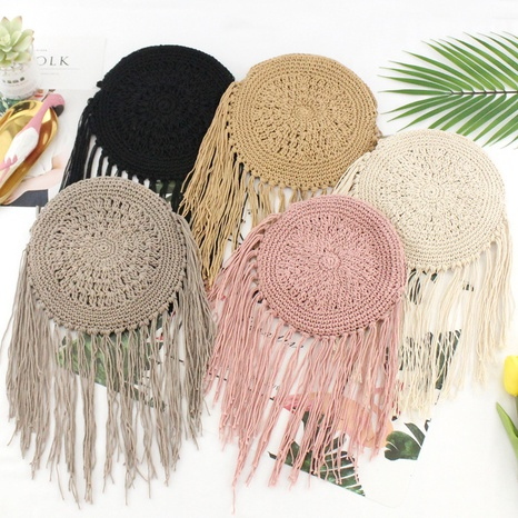 ethnic style fringed cotton hand-tied woven straw woven messenger bag wholesale Nihaojewelry NHXM394735's discount tags