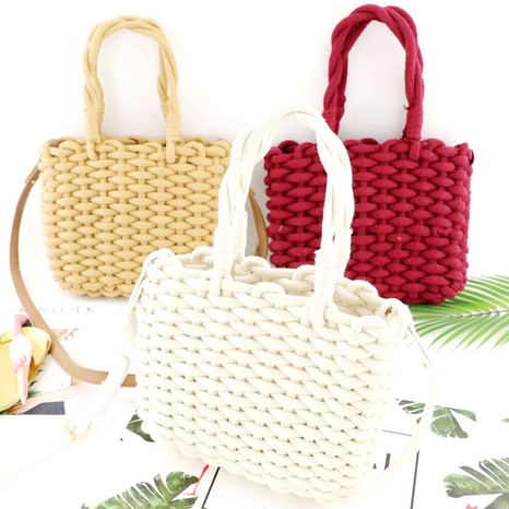solid color thick cotton rope one-shoulder portable straw woven bag wholesale Nihaojewelry NHXM394736's discount tags