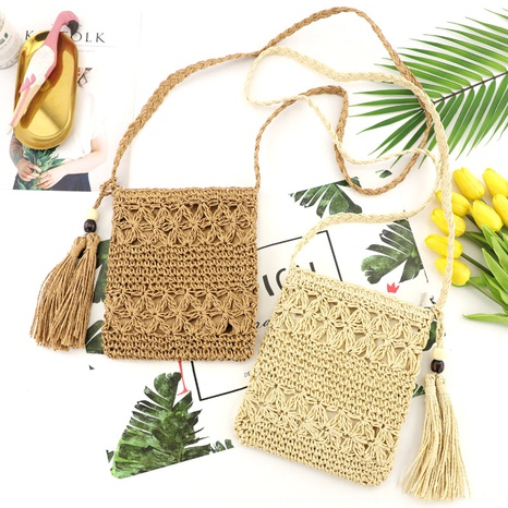 retro fringed hollow woven messenger bag wholesale Nihaojewelry NHXM394737's discount tags