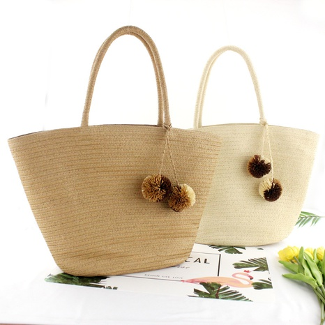 retro hanging ball straw woven bag wholesale Nihaojewelry NHXM394739's discount tags