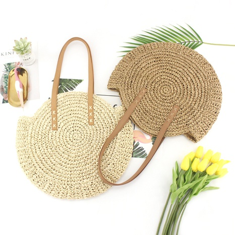 paper rope crochet large disc straw woven bag wholesale Nihaojewelry NHXM394740's discount tags