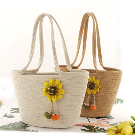 sun flower cotton rope straw woven one-shoulder bag wholesale Nihaojewelry NHXM394743's discount tags