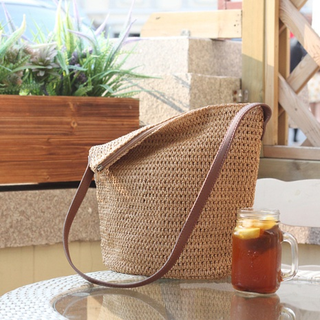 pu leather strape one-color straw woven bag wholesale Nihaojewelry NHXM394744's discount tags