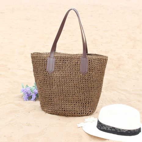 casual straw woven zipper shoulder bag wholesale Nihaojewelry NHXM394745's discount tags