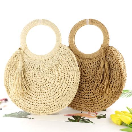 tassel fringe straw woven round beach bag wholesale Nihaojewelry NHXM394747's discount tags
