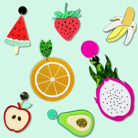 Acryl Obst Ohrringe Ananas Apfel Erdbeere Wassermelone Avocado Drachenfrucht Zitronenscheibe Ohrringe NHQC395295's discount tags