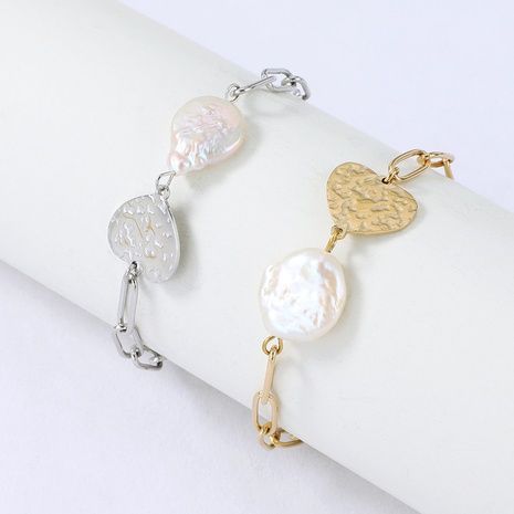 Nihaojewelry heart shape pearl long chain bracelet Wholesale jewelry NHYUN378315's discount tags
