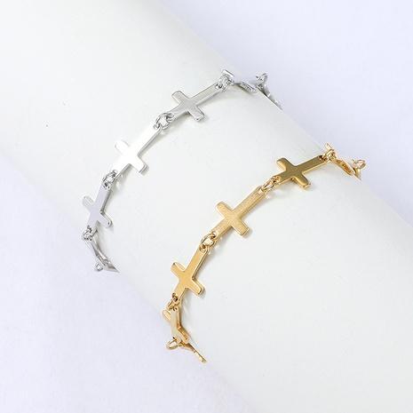 Bracelet croix en acier inoxydable de style simple Nihaojewelry Bijoux en gros NHYUN378317's discount tags