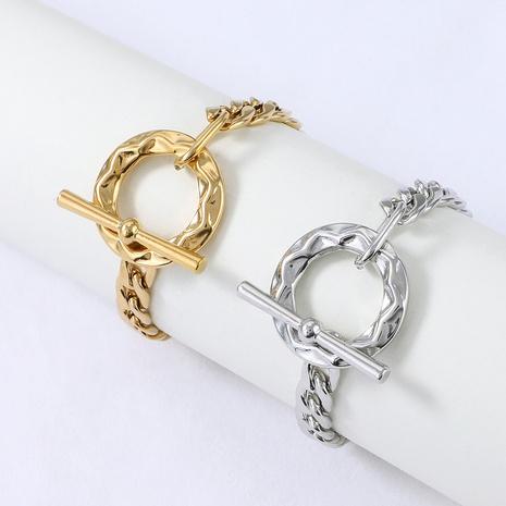 Nihaojewelry mode chaîne épaisse OT boucle bracelet en acier inoxydable bijoux en gros NHYUN378319's discount tags
