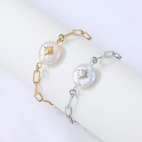 Nihaojewelry fashion stainless steel pearl star bracelet Wholesale jewelry NHYUN378320's discount tags