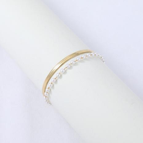 Nihaojewelry acier inoxydable serpent os chaîne de perles bracelet double couche bijoux en gros NHYUN378323's discount tags