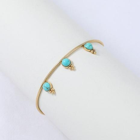 Nihaojewelry style simple goutte d'eau bracelet en acier inoxydable turquoise bijoux en gros NHYUN378324's discount tags