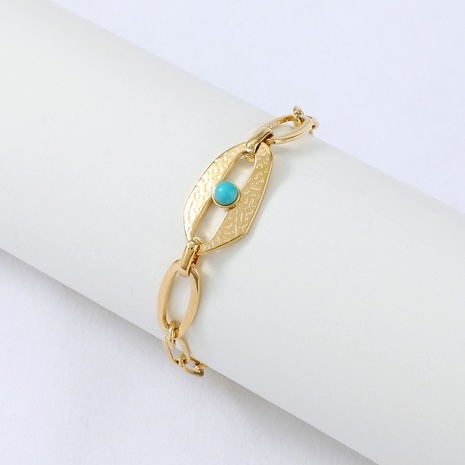 Nihaojewelry simple chaîne en acier inoxydable bracelet couture turquoise bijoux en gros NHYUN378325's discount tags