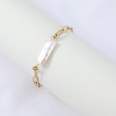 Nihaojewelry bracelet en acier inoxydable perle baroque simple bijoux en gros NHYUN378328's discount tags