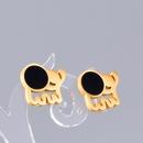 Nihaojewelry jewelry wholesale black piece small elephant titanium steel stud earrings NHAB378361